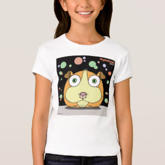 Hamster (Orange/Black Bg) Girls Fitted T-Shirt
