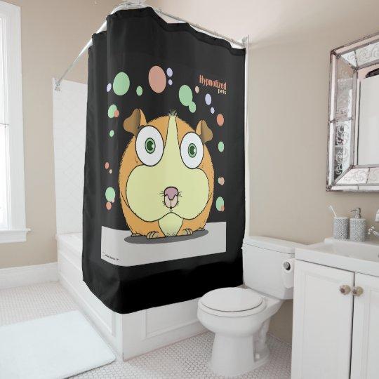 Hamster (Orange, Black Bg) Shower Curtain