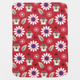 Hamster & Sunflower seamless pattern Baby Blanket