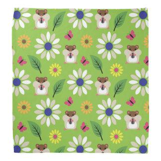 Hamster & Sunflower seamless pattern Bandana