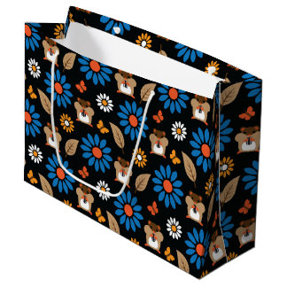 Hamster & Sunflower Seamless Pattern Large Gift Bag