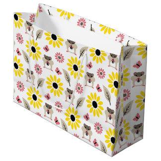 Hamster & Sunflower Seamless Pattern Large Gift Bag