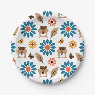 Hamster & Sunflower Seamless Pattern Paper Plate