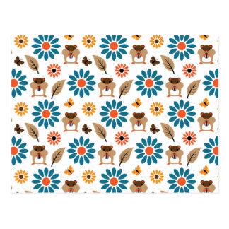 Hamster & Sunflower Seamless Pattern Postcard