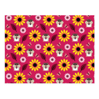 Hamster & Sunflower Seamless Pattern Postcard