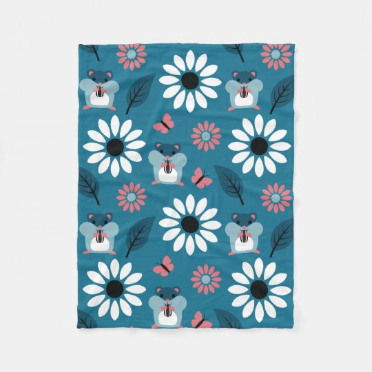 Hamster & Sunflower seamless pattern (ver.2) Fleece Blanket