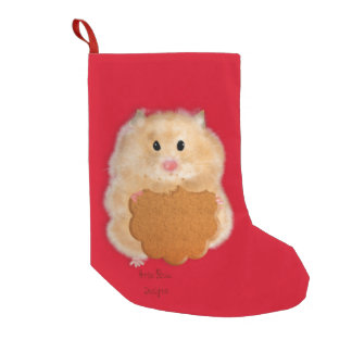 Hamster with biscuit Christmas Stocking Small Christmas Stocking