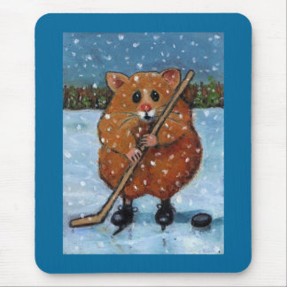 HAMSTER WITH HOCKEY STICK: ART MOUSE PAD