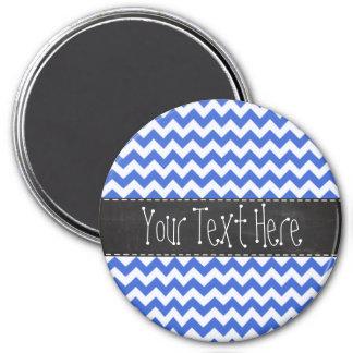 Han Blue Chevron Stripes; Chalkboard look Magnet