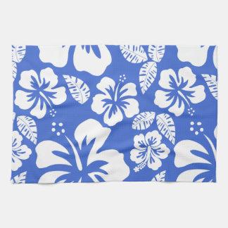 Han Blue Hawaiian Tropical Hibiscus Kitchen Towel