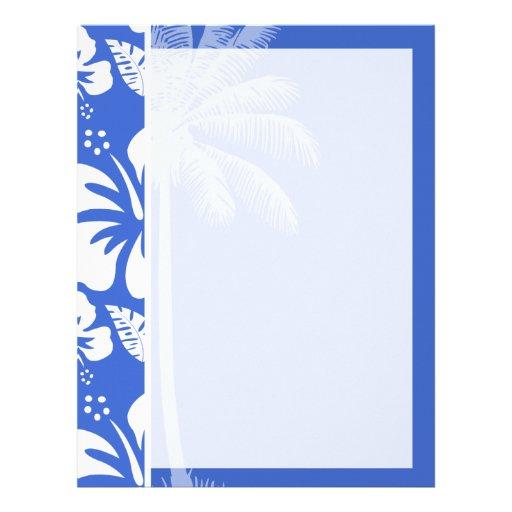 Han Blue Hawaiian Tropical Hibiscus; Palm Custom Letterhead