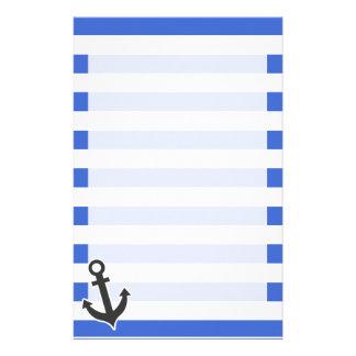 Han Blue Horizontal Stripes; Nautical Anchor Stationery Design