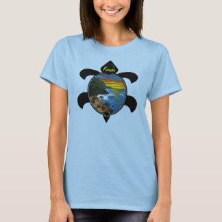"""Hanakapiai""-Na Pali Sunset/Turtle Design T-Shirt"