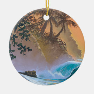Hanalei Bay Beach Surf Ceramic Ornament
