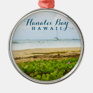 Hanalei Bay Kauai Hawaii Beach & Boats Silver-Colored Round Ornament