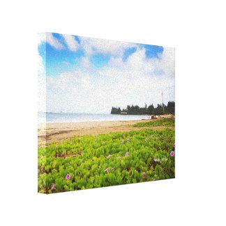 Hanalei Bay, Kauai Hawaii Beach Flowers Canvas Print