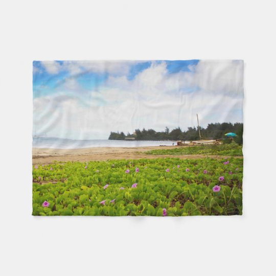 Hanalei Bay, Kauai Hawaii Beach Flowers Fleece Blanket