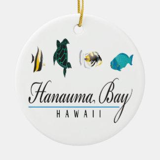 Hanauma Bay Hawaii Marine Life Round Ceramic Ornament