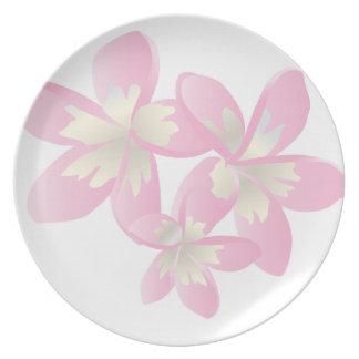 HANAUMA BAY HAWAII  - Pink Plumeria Dinner Plates