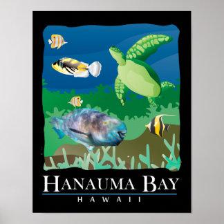 Hanauma Bay Hawaii Sea Turtle and Parrot Fish Print