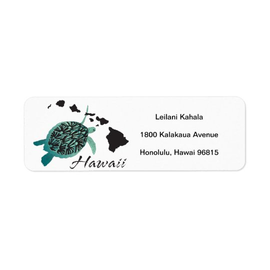 Hanauma Bay Hawaii Turtle Return Address Label