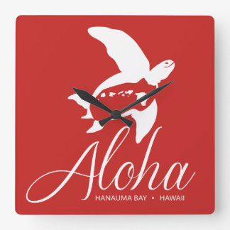 Hanauma Bay Hawaii Turtle Square Wall Clock