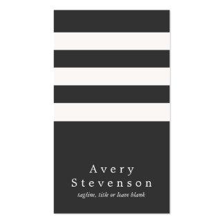 Hanche verticale moderne rayée noire et blanche carte de visite standard