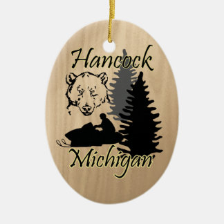 Hancock Michigan Snowmobile Bear Ceramic Ceramic Ornament