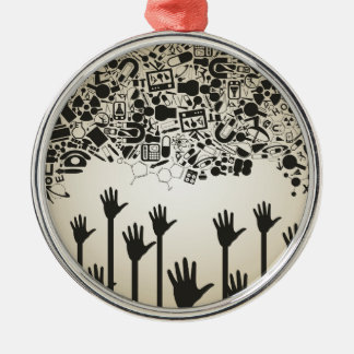 Hand a science Silver-Colored round ornament
