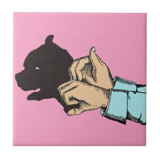 Hand Art Dog Image On Ceramic Photo Tile