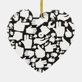 Hand background2 ceramic heart ornament