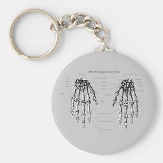 Hand Bones Details Basic Round Button Keychain