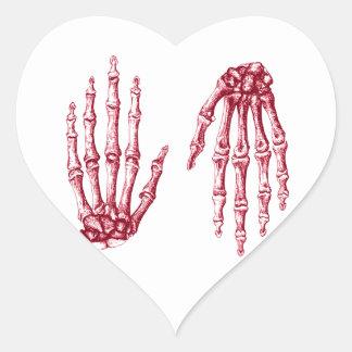 Hand bones heart sticker