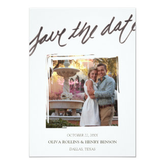 Hand Brush Lettering | Save the Date Photo Card