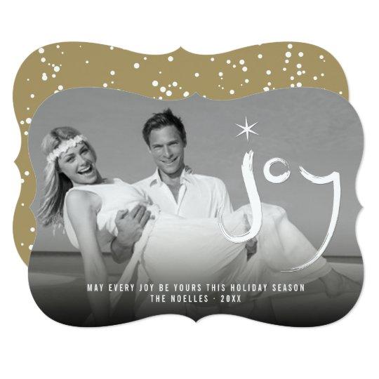 Hand Brushed Joy Star Christmas Holiday Photo Card