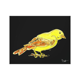 Hand Carved Bird in Yellow Watercolors Canvas Print