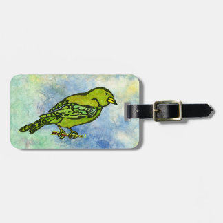 Hand Carved Bird in Yellow watercolors Luggage Tag