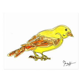 Hand Carved Bird in Yellow Watercolors Postcard