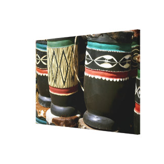 Hand carved drums, Livingston, Zambia Stretched Canvas Print