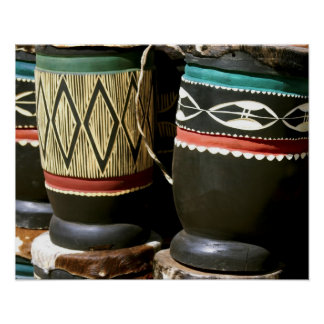 Hand carved drums, Livingston, Zambia Posters