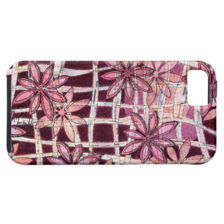 Hand Carved Flowers Burgundy Case For The iPhone 5
