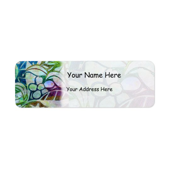 Hand Carved Leaves and Flowers - in Green Blue Return Address Label