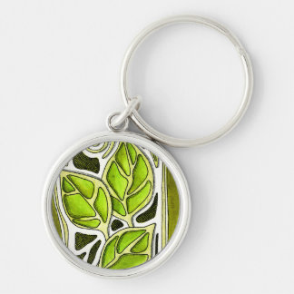 Hand Carved Leaves in Green Silver-Colored Round Keychain