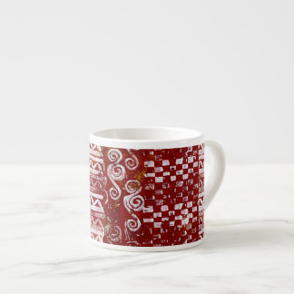 Hand Carved Patterns on Red Canvas Espresso Cup