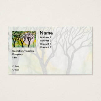 Hand Carved Trees on Rice Paper Business Card
