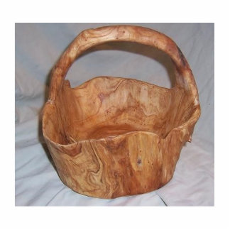 hand carved wood basket standing photo sculpture