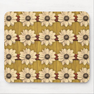 Hand Carved Wooden Daisies Mouse Pad