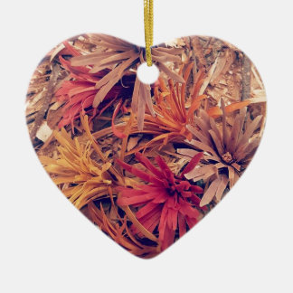 Hand carved wooden Forever flowers Ceramic Heart Ornament