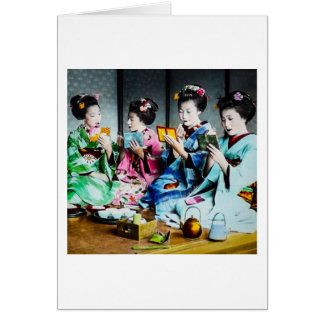 Hand Colored Vintage Geisha Gathering Card