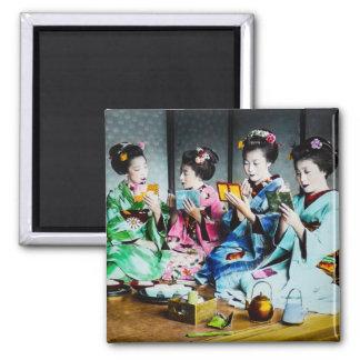 Hand Colored Vintage Geisha Gathering Magnet